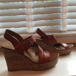 Brown Strappy Buckle Wedges